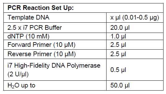 i7 High Fidelity DNA Polymerase PCR Set Up